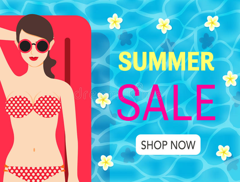 De sexy dame geniet van haar de zomervakantie op de pool en online het winkelen ontwerp van de de zomerverkoop voor banner, affic stock illustratie