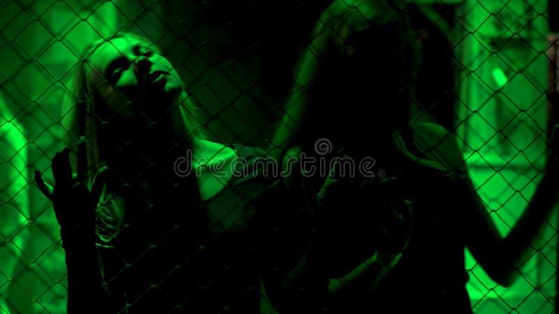 De sexy dames die zich achter metaal bevinden ketenen omheining in groen licht, onwettige zaken royalty-vrije stock afbeeldingen