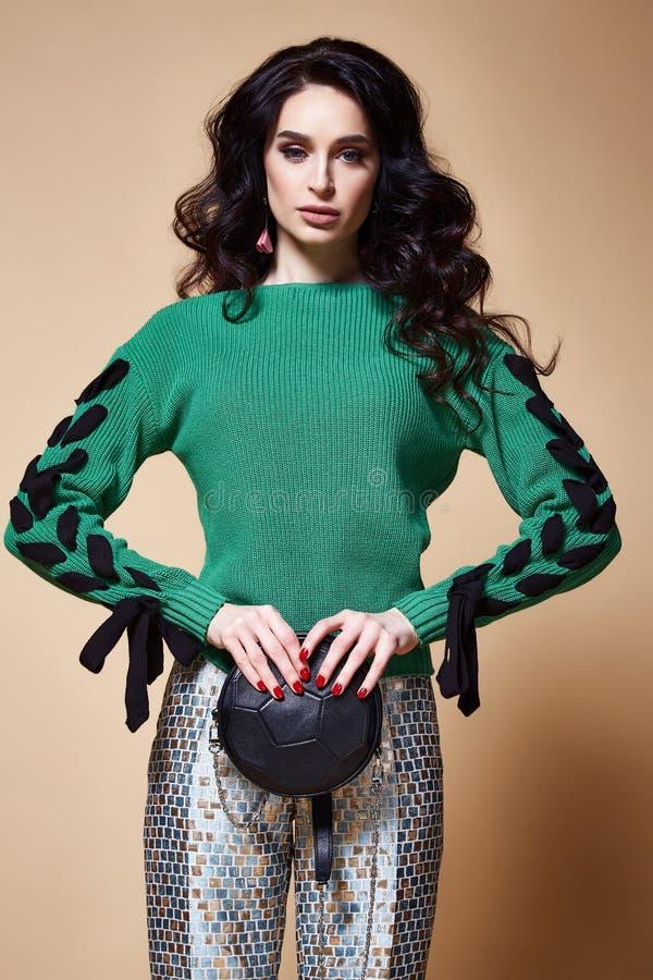 De sexy mooie make-up van het de glamour model donkerbruine haar van de vrouwenmanier stock fotografie