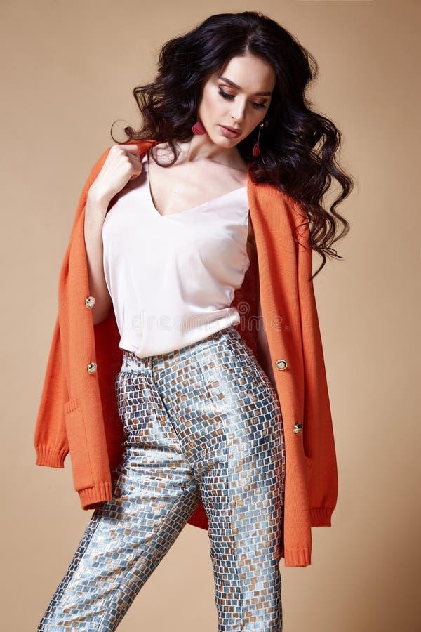 De sexy mooie make-up van het de glamour model donkerbruine haar van de vrouwenmanier stock afbeelding