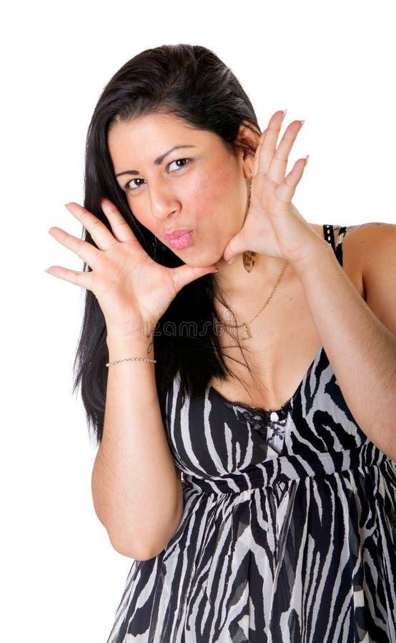 De sexy Spaanse vrouw zegt wow stock afbeelding