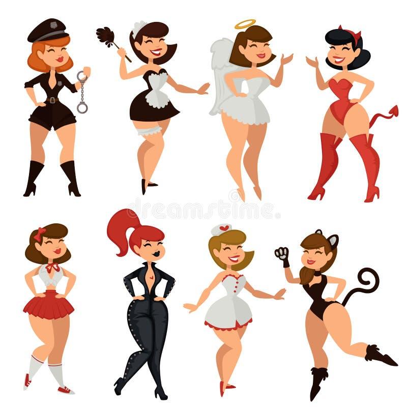 De sexy striptease van het vrouwenmeisje kleedt vectorbeeldverhaal vector illustratie