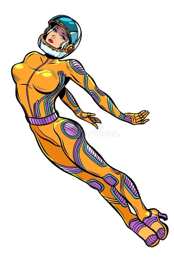 De sexy super held van de vrouwenastronaut, sterke dame Feminisme vrouwelijke macht vector illustratie