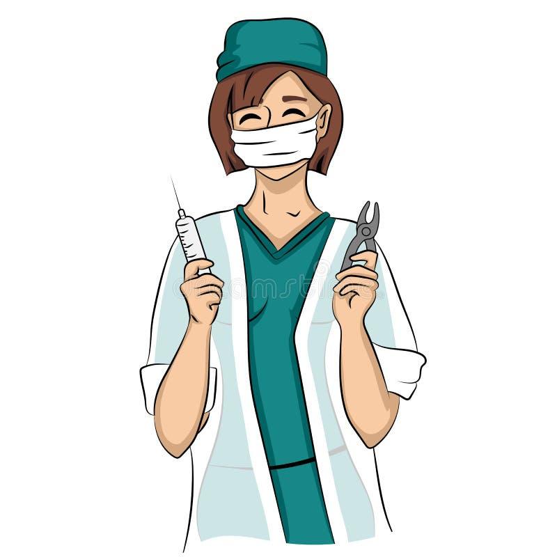 De sexy tandartsvrouw houdt spuit en tang royalty-vrije illustratie