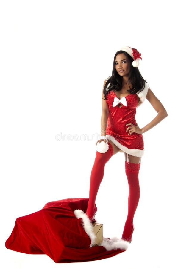 De sexy Vrouw van Kerstmis royalty-vrije stock afbeeldingen