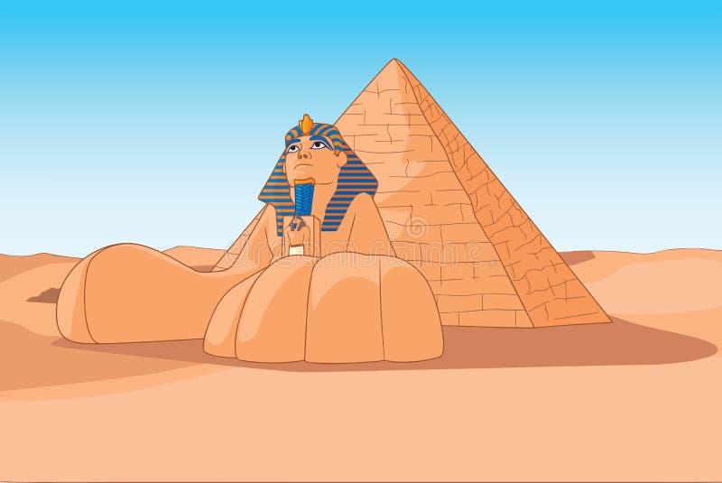 De Sfinx en de piramides Egypte vector illustratie