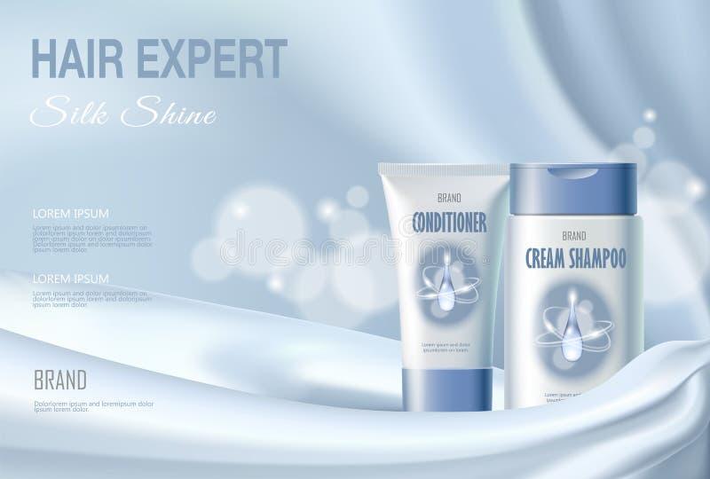 De shampoo van de haar het kosmetische advertentie het bevochtigen veredelingsmiddel bevochtigen Lichtblauwe van de het water vlo royalty-vrije illustratie