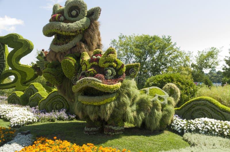 De Shangai: Celebración alegre de los nueve leones imagenes de archivo