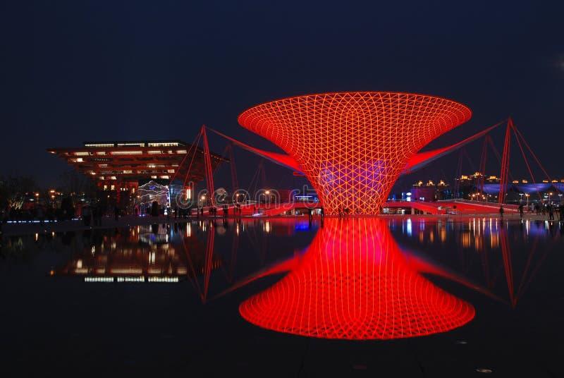 de shanghai da expo parte 2010 de noite imagem de stock royalty free