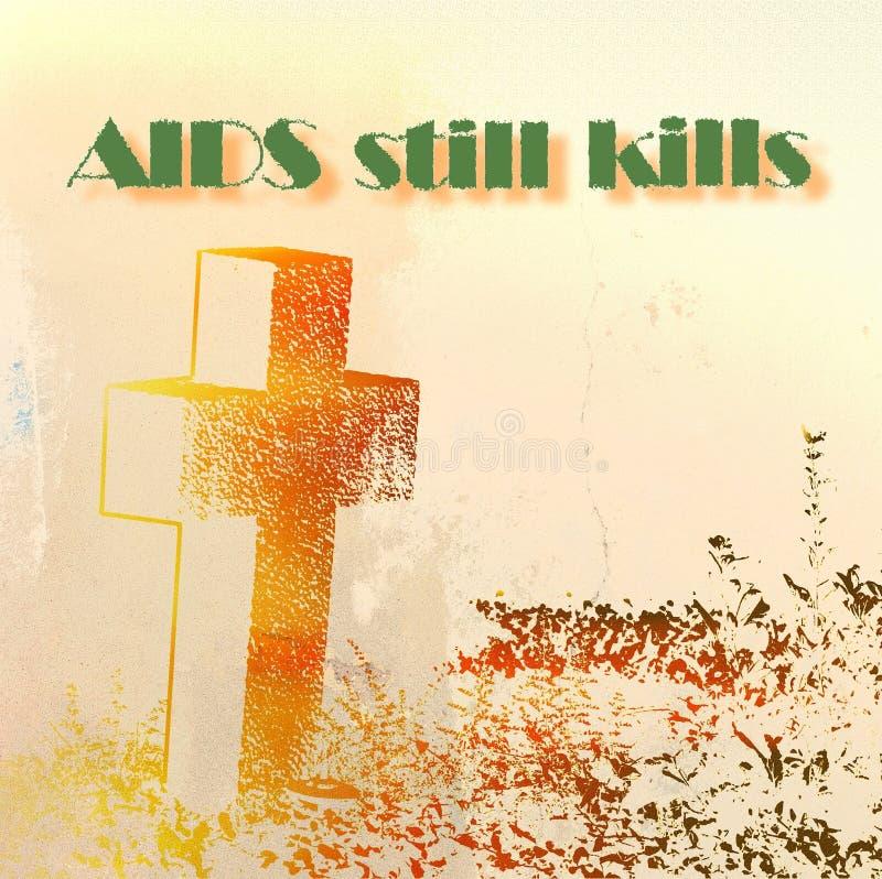 De SIDA toujours mises à mort écrites avec la pierre tombale croisée blanc de vue de côté d'ordinateur portatif de l'information  illustration de vecteur