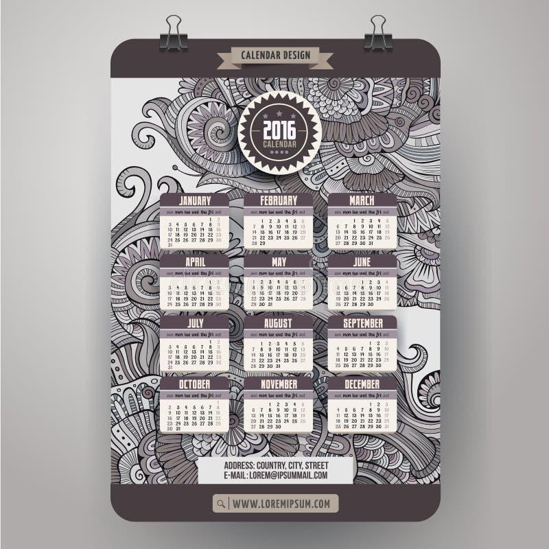 De sier bloemenkalender 2016 van het krabbelsbeeldverhaal royalty-vrije illustratie