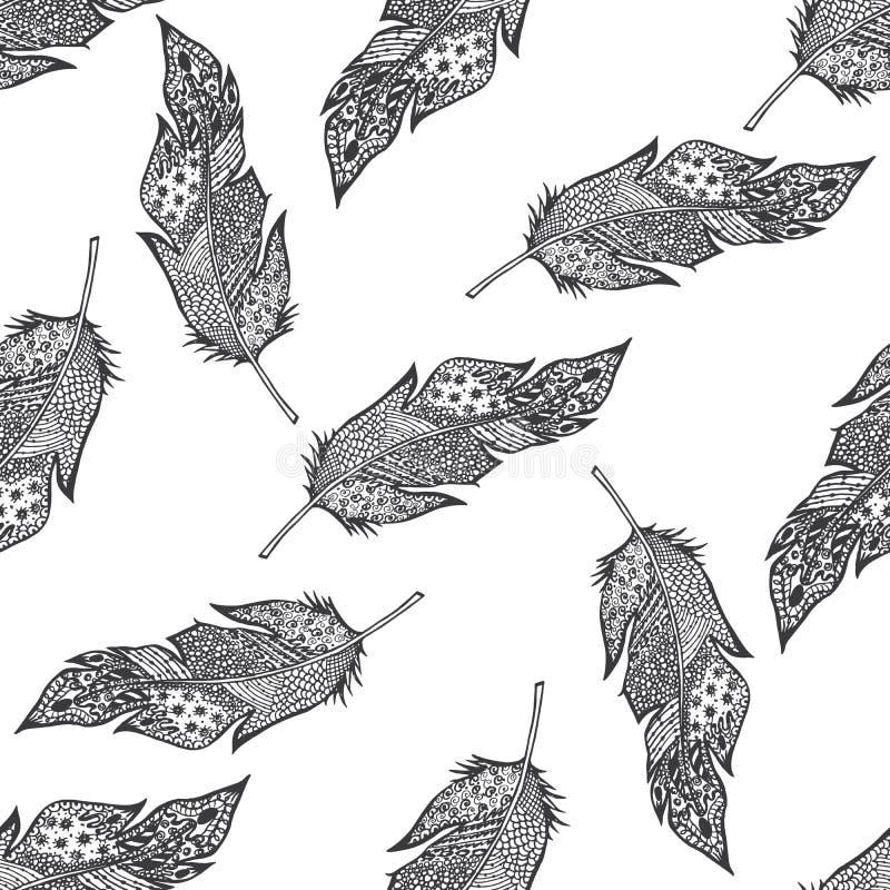 De sier getrokken hand schetste veren naadloos patroon, vector geïsoleerde illustratie met ornament, stock illustratie