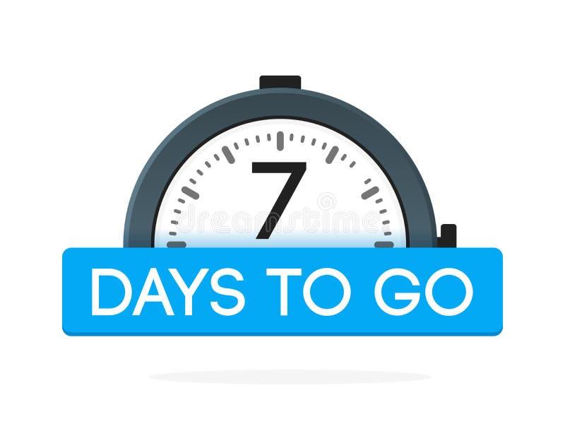 De siete d?as para ir etiqueta, plano del despertador con la cinta azul, icono de la promoci?n, el mejor illustretion del vector  stock de ilustración