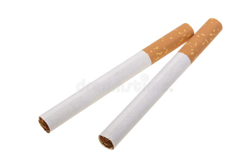 De sigaret op een witte achtergrond wordt geïsoleerd die stock foto's