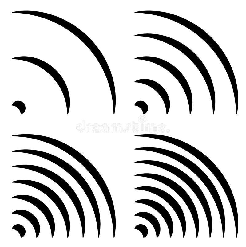 De signaalvormen, generische kwartcirkels, gebogen lijnen met differen royalty-vrije illustratie