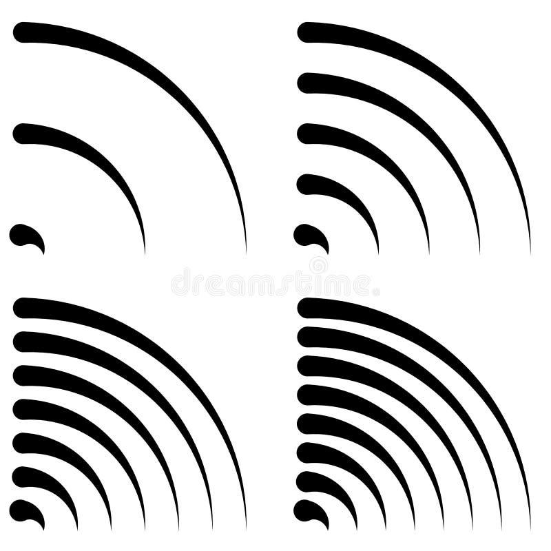 De signaalvormen, generische kwartcirkels, gebogen lijnen met differen stock illustratie