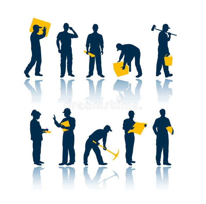 De silhouetten van arbeiders royalty-vrije illustratie