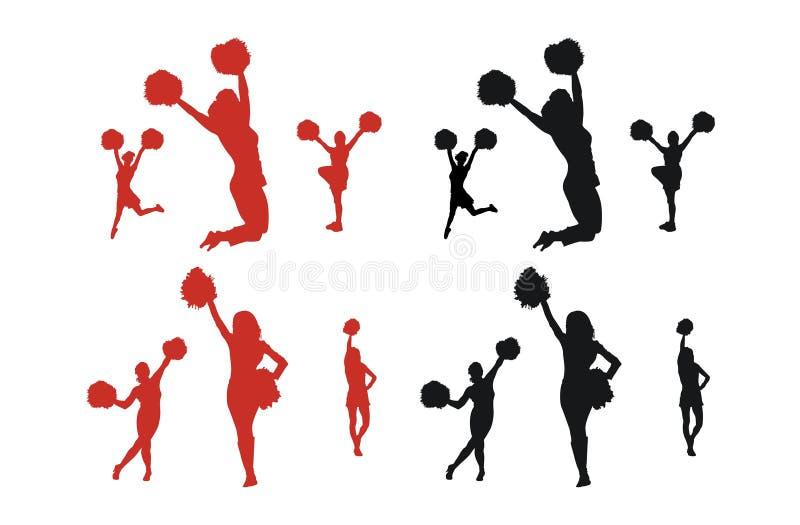 De Silhouetten van Cheerleader vector illustratie