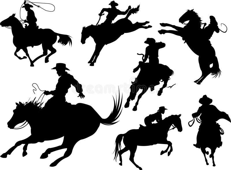 De silhouetten van cowboys stock illustratie