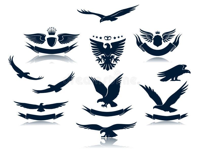 De Silhouetten van de adelaar plaatsen 3 royalty-vrije illustratie