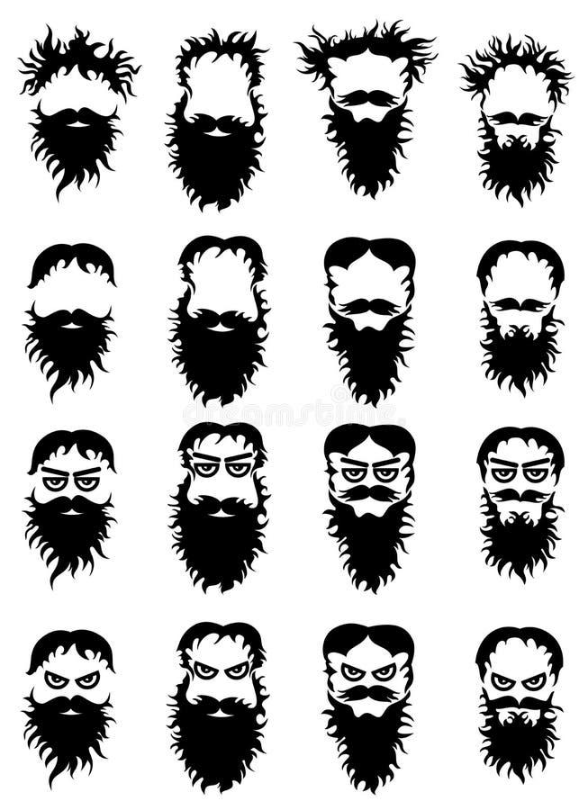 De silhouetten van de baardsnor stock illustratie