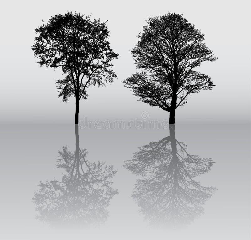 De silhouetten van de boom stock illustratie