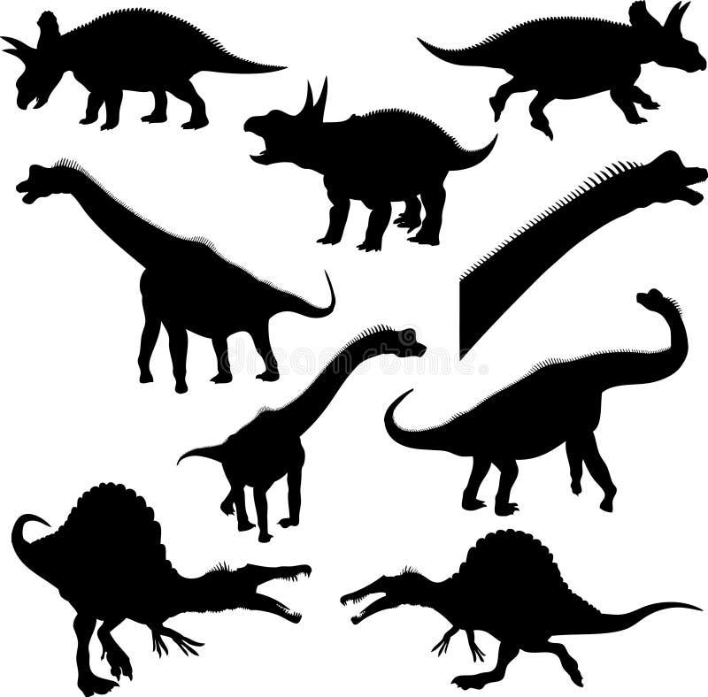 De Silhouetten van de dinosaurus stock illustratie
