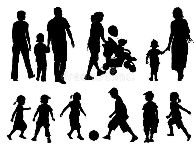 De silhouetten van de familie