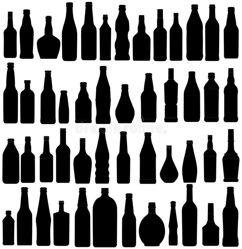 De silhouetten van de fles stock illustratie