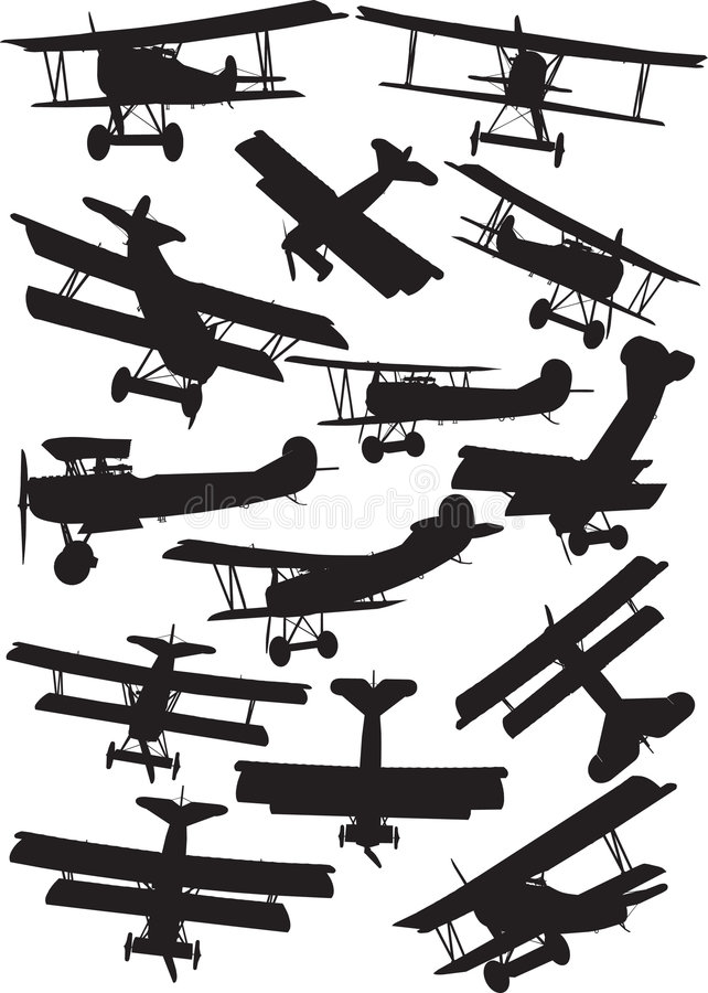 De silhouetten van de Fokker D7 stock illustratie