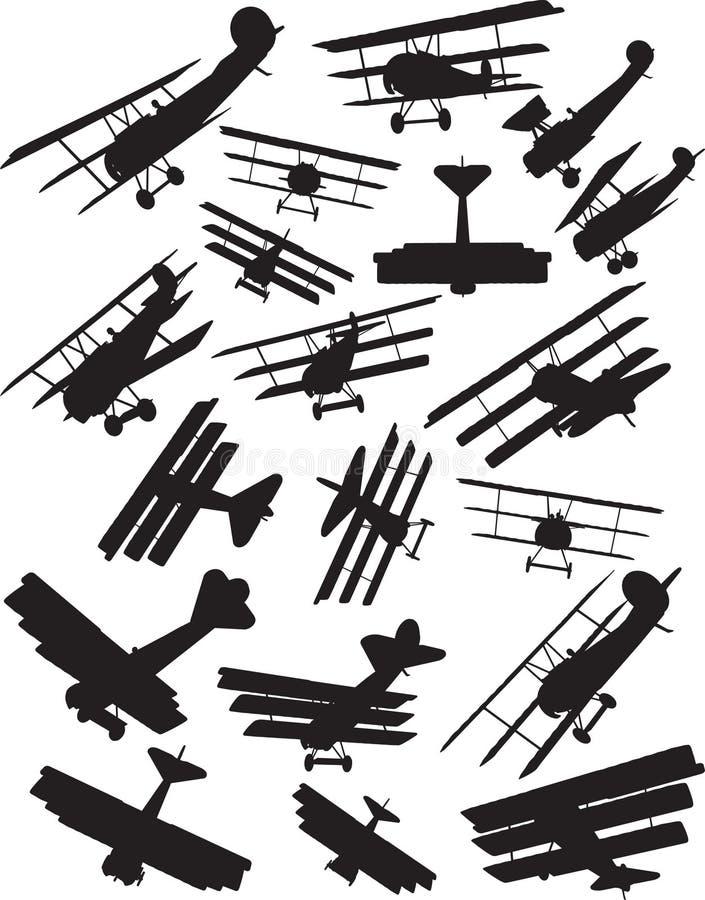 De silhouetten van de Fokker DR1 royalty-vrije illustratie