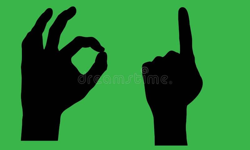 Download De silhouetten van de hand stock illustratie. Illustratie bestaande uit alright - 309305