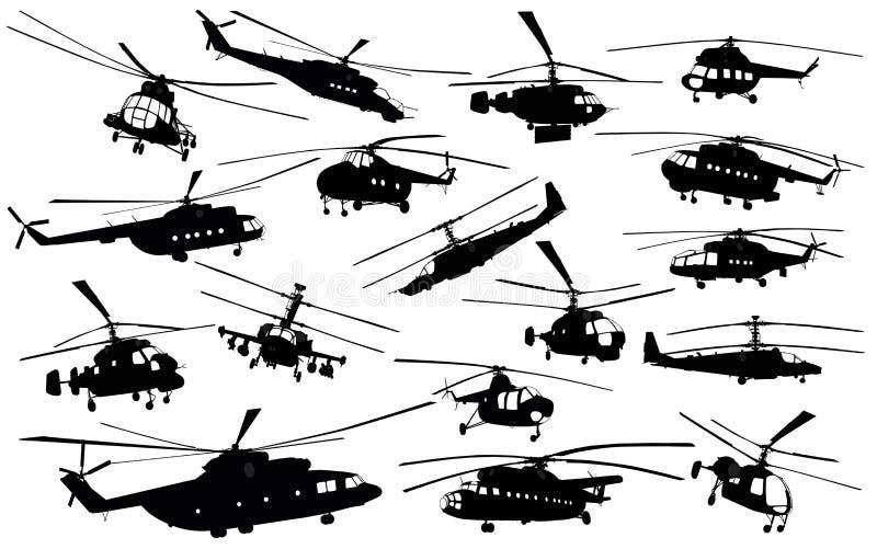 De silhouetten van de helikopter stock illustratie