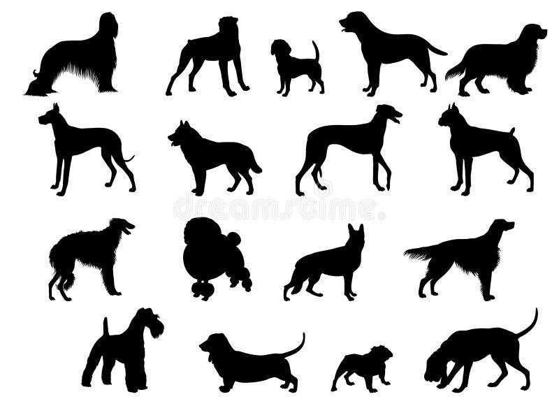 De silhouetten van de hond stock illustratie