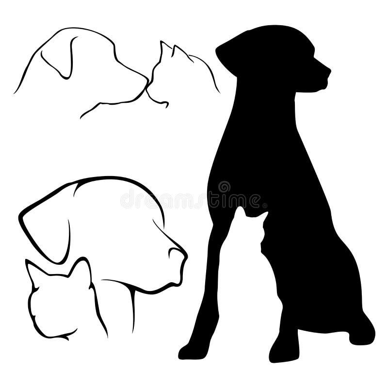 De Silhouetten van de hond en van de Kat stock illustratie