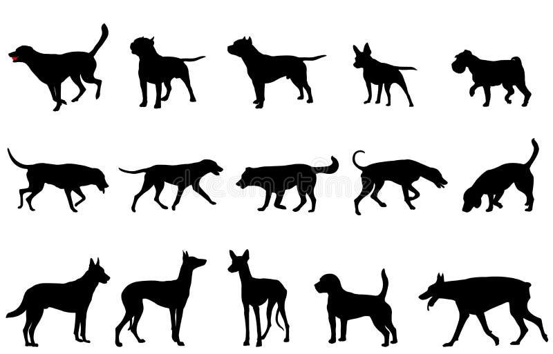 De silhouetten van de hondeninzameling royalty-vrije illustratie