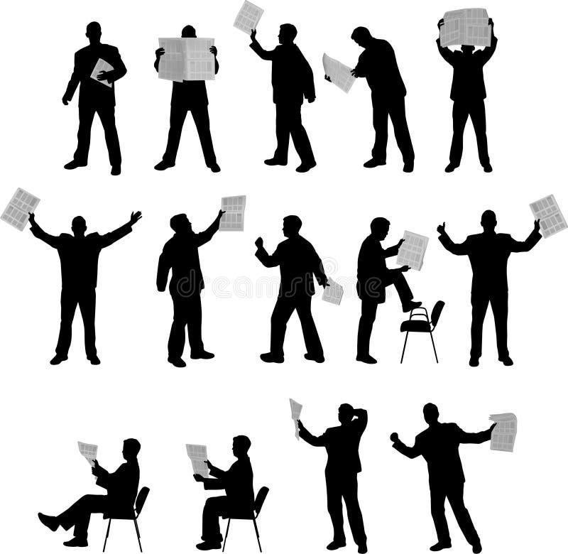 De silhouetten van de lezingskranten van de mens stock illustratie