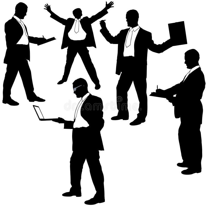 De silhouetten van de manager in situaties. vector illustratie