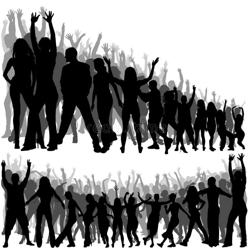 De Silhouetten van de menigte stock illustratie