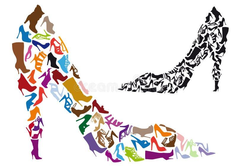 De silhouetten van de schoen, vector vector illustratie