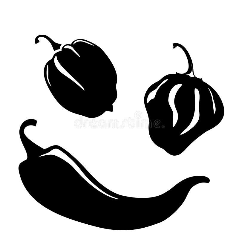 De silhouetten van de Spaanse peperpeper stock illustratie
