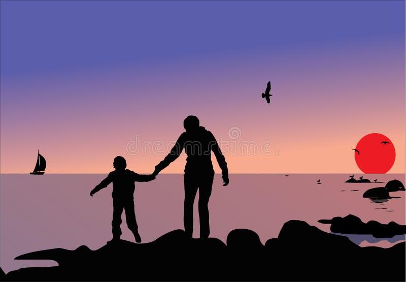 De silhouetten van de vrouw en van het kind