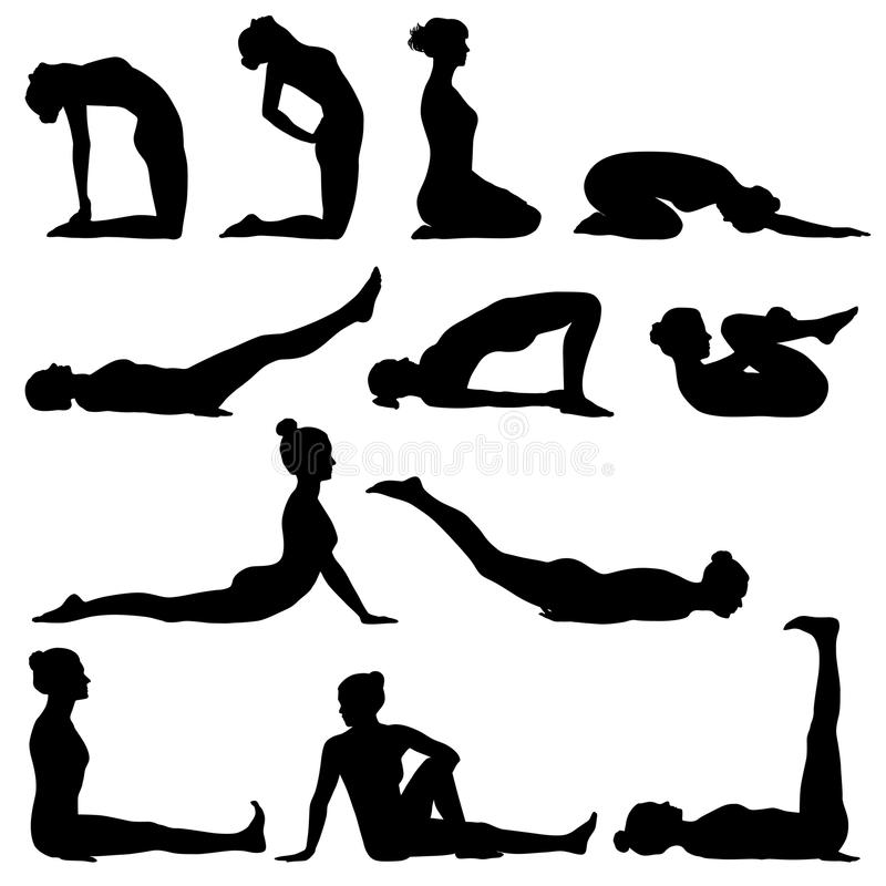 De silhouetten van de vrouwenyoga vector illustratie