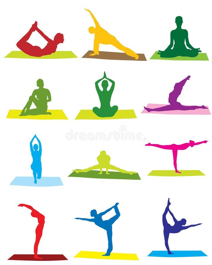 De silhouetten van de yoga stock illustratie