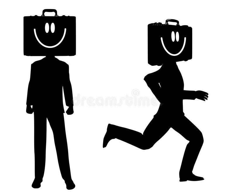 De Silhouetten van de Zakenman van de werkverslaafde vector illustratie
