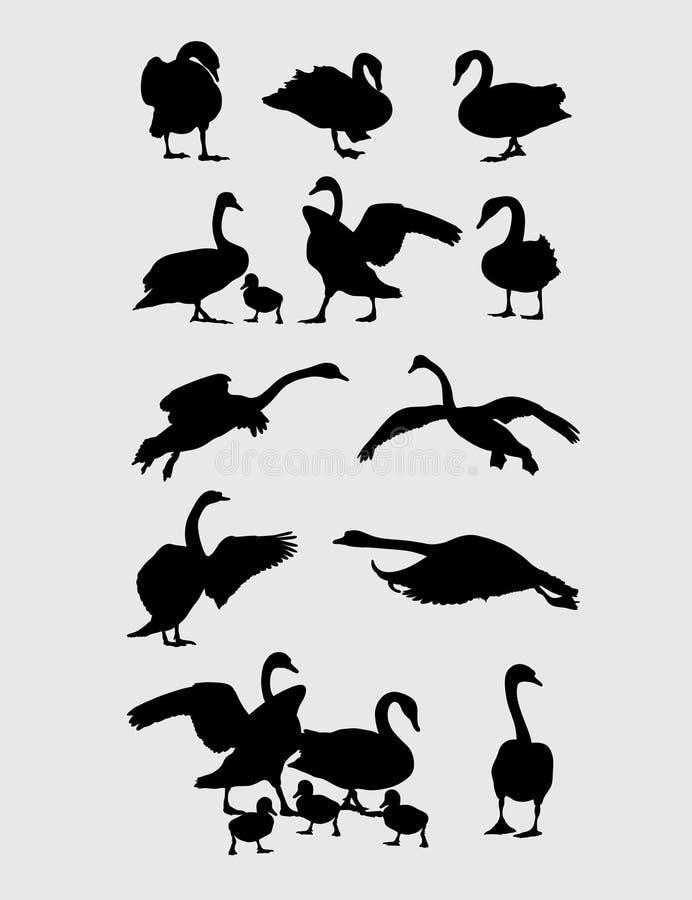 De Silhouetten van de zwaanactiviteit vector illustratie