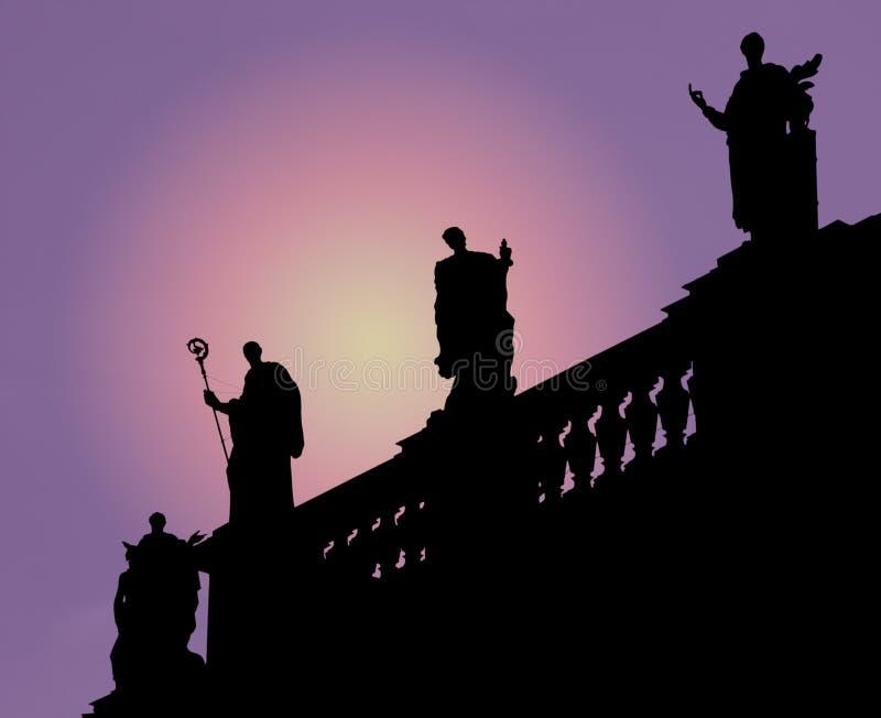 De silhouetten van Dresden stock foto's
