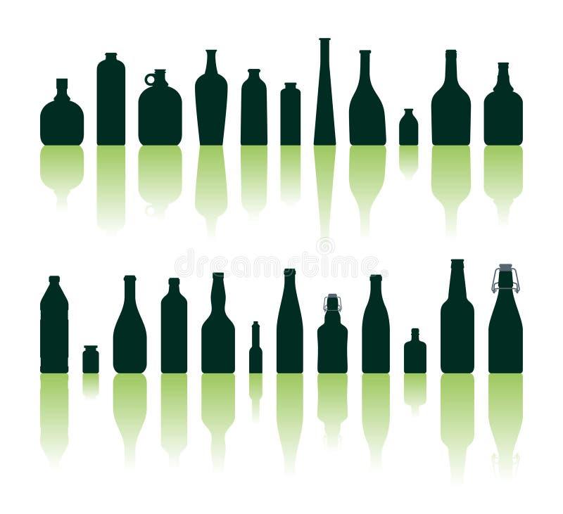 De silhouetten van flessen vector illustratie