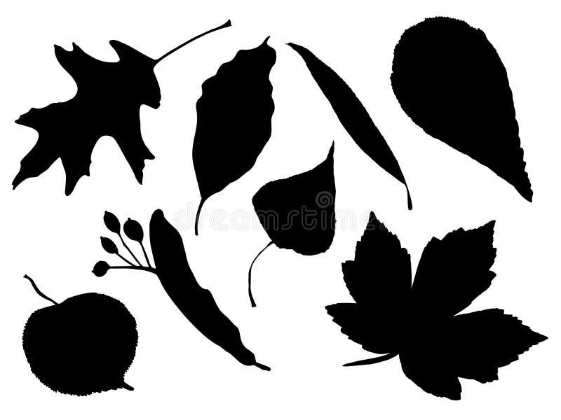 De silhouetten van het blad royalty-vrije illustratie