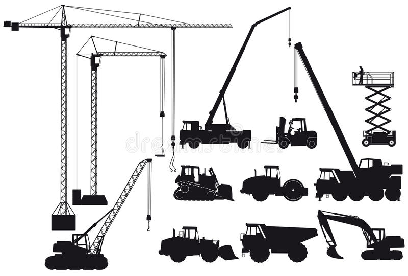 De silhouetten van het bouwmateriaal royalty-vrije illustratie